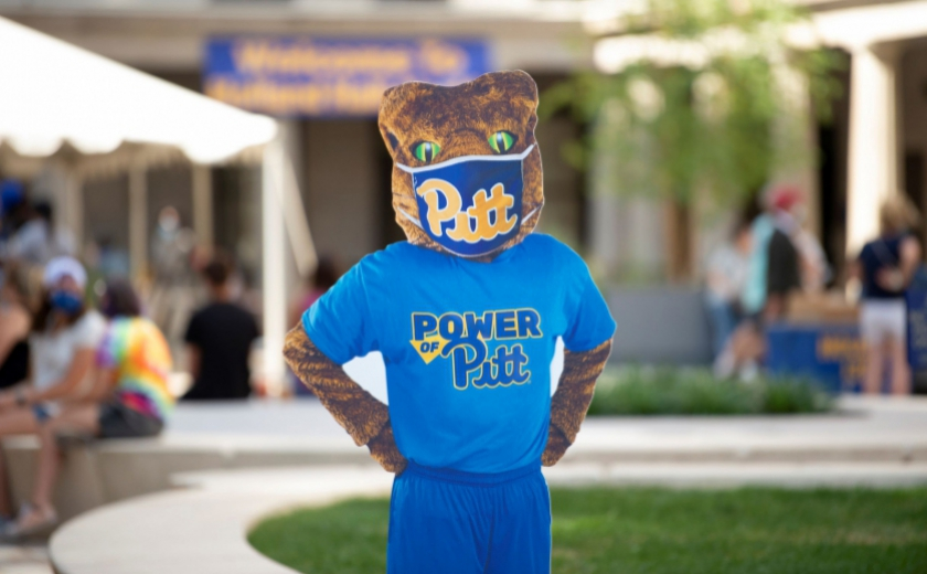 Pitt's mascot Roc the Panther with a face covering