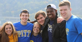 group of students wearing pitt gear