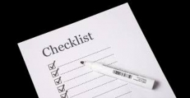 checklist with pen
