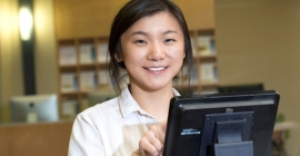 young woman using sign-in screen
